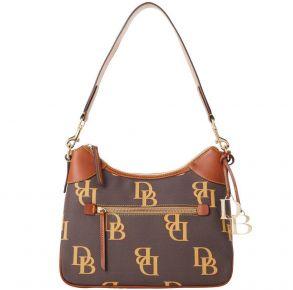 Dooney & Bourke Monogram Hobo Handbag - Brown Tmoro Front View