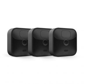 Blink Outdoor Wireless Weather-Resistant HD Security Camera with Motion Detection – 3 Camera Kit, Black Front View