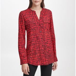 Calvin Klein Womens Long Sleeve Blouse Front View