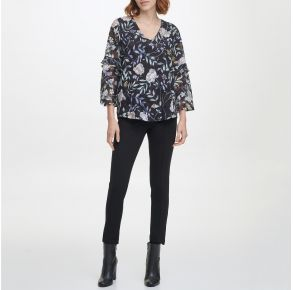 Calvin Klein Womens Ruffle Sleeve Blouse Front View