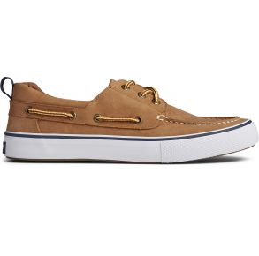 Sperry Mens Bahama 3-Eye Leather Boat Shoe Tan Right Side View