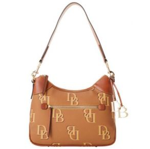 Dooney & Bourke Monogram Hobo Handbag - Saddle Front View