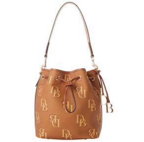 Dooney & Bourke Monogram Drawstring Handbag - Saddle Front View