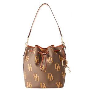 Dooney & Bourke Monogram Drawstring Handbag - Taupe Front View