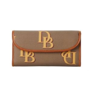 Dooney & Bourke Monogram Continental Clutch Wallet - Taupe Front View