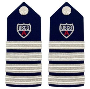 Vanguard Coast Guard Auxiliary Male Hard Shoulder Board:  DC (4 Stripes & Red A) Front View