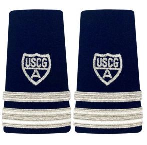 Vanguard Coast Guard Auxiliary Female Enhanced Shoulder Board: VFC 1-1/2 Stripe & Silver A Front View