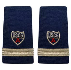 "Vanguard Coast Guard Auxiliary Female Enhanced Shoulder Board:  FSO (1 Stripe and Red ""A"")  Front View"