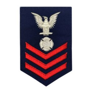 Vanguard Coast Guard E6 Rating Badge: Fire Fighter - Blue Front View