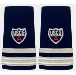 "Vanguard Coast Guard Auxiliary Female Enhanced Shoulder Board: SO 1-1/2 Stripe & Red ""A"" Front View"