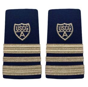 "Vanguard Coast Guard Auxiliary Female Enhanced Shoulder Board:  VCP 2-1/2 Stripe & Silver ""A""  Front View"