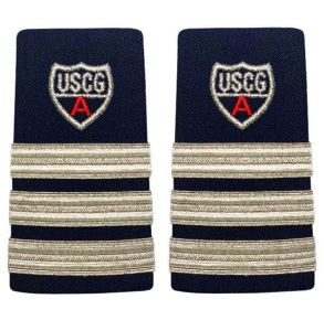 "Vanguard Coast Guard Auxiliary Female Enhanced Shoulder Board: DVC, NA and DDO 3 Stripes and Red ""A"" Front View"