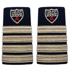 "Vanguard Coast Guard Auxiliary Female Enhanced Shoulder Board: DC 4 Stripes & Red ""A"" Front View"