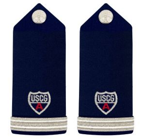 "Vanguard Coast Guard Auxiliary Female Hard Shoulder Board: FSO 1 Stripe & Red ""A"" Front View"
