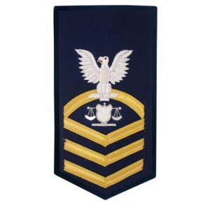 Vanguard Coast Guard E7 Male Rating Badge: Investigator - Blue Front View