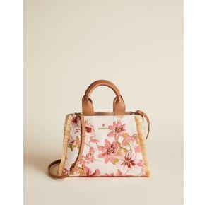 Spartina 449 Layla Fringe Satchel Handbag - Garden House Floral Front View