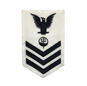 Vanguard Coast Guard E6 Rating Badge: Marine Science Technician - White Front View