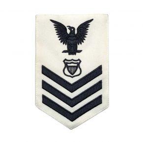 Vanguard Coast Guard E6 Rating Badge: Maritime Enforcement - White Front View