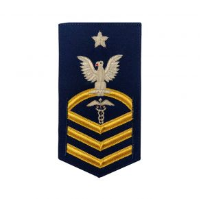 "Vanguard Coast Guard E8 Rating Badge: Health Service Technician ""Hst"" - Blue Front View"