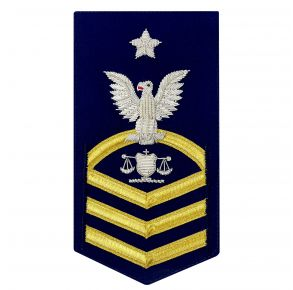 "Vanguard Coast Guard E8 Rating Badge:  Investigator ""In"" - Blue Front View"