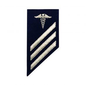 Vanguard Coast Guard E3 Rating Badge: Health Services Technician - Blue Front View