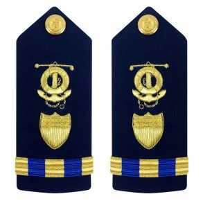 Vanguard Coast Guard Warrant Officer 3 Male Shoulder Board: Marine Safety Deck Front View