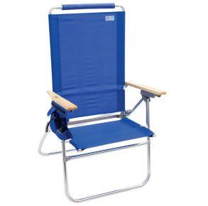 RIO Beach Hi-Boy High Back Beach Chair - Solid Blue Right Side View