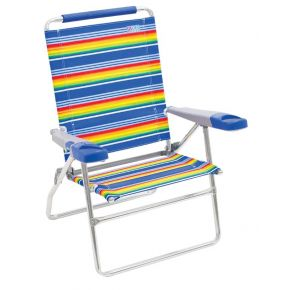 RIO Beach Beach Chair with Deluxe Arms - 15 in. - Tropical Blue/Red/Yellow Stripe Front Right View