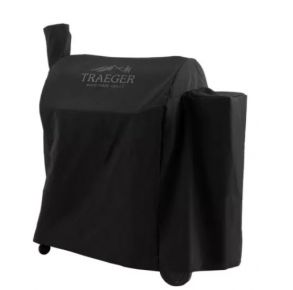 Traeger Grill Cover - Pro 780 - Full-Length - Black Front of Cover over Grill  View