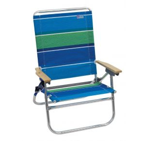 RIO Beach Easy In-Easy Out Beach Chair - Blue Green Stripe Front  View