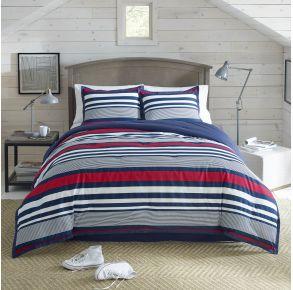 IZOD Varsity Comforter Set - Queen - Navy Stripe Front View