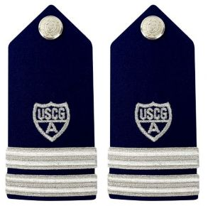 "Vanguard Coast Guard Auxiliary Female Hard Shoulder Board:  FC 2 Stripes & Silver ""A"" Front View"