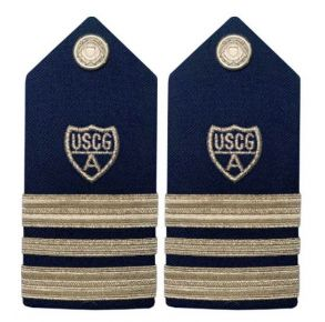 "Vanguard Coast Guard Auxiliary Female Hard Shoulder Board:  VCP 2 1/2 Stripes & Silver ""A"" Front View"