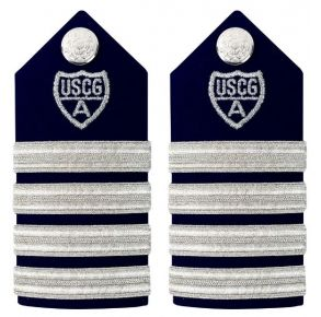 "Vanguard Coast Guard Auxiliary Female Hard Shoulder Board: VCO & RCO 4 Stripes & Silver ""A"" Front View"