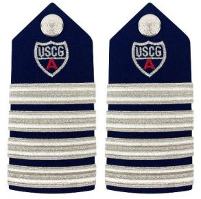 "Vanguard Coast Guard Auxiliary Female Hard Shoulder Board: DC 4 Stripes & Red ""A"" Front View"