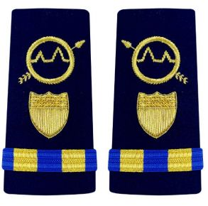 Vanguard Coast Guard Warrant Officer 2 Male Enhanced Shoulder Board: Operations Systems Specialist (OSS) Front View