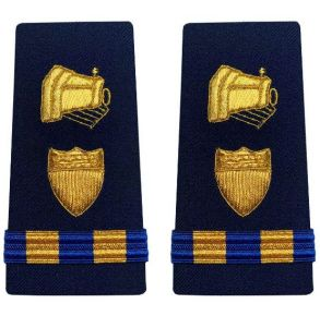 Vanguard Coast Guard Warrant Officer 2 Male Enhanced Shoulder Board: Public Information Front View