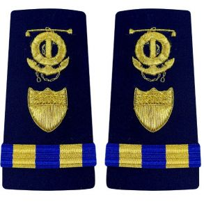 Vanguard Coast Guard Warrant Officer 2 Male Enhanced Shoulder Board: Marine Safety Specialist Deck (MSSD) Front View