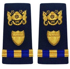 Vanguard Coast Guard Warrant Officer 3 Male Enhanced Shoulder Board: Diver Front View