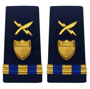 Vanguard Coast Guard Warrant Officer 3 Male Enhanced Shoulder Board: Intelligence Systems Specialist Front View