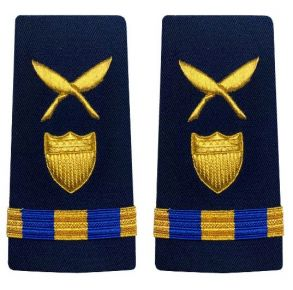 Vanguard Coast Guard Warrant Officer 3 Male Enhanced Shoulder Board: Marine Safety Specialist Deck (MSSD) Front View