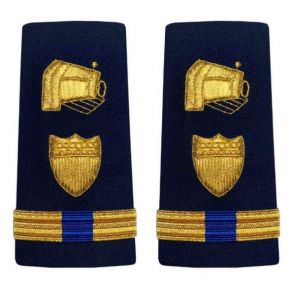 Vanguard Coast Guard Warrant Officer 4 Male Enhanced Shoulder Board: Public Information Front View