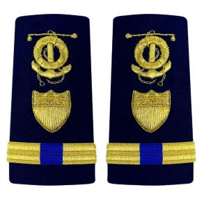 Vanguard Coast Guard Warrant Officer 4 Male Enhanced Shoulder Board: Marine Safety Specialist Deck (MSSD) Front View