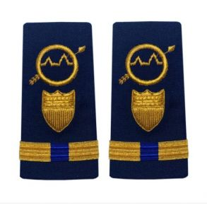Vanguard Coast Guard Warrant Officer 2 Male Enhanced Shoulder Board: Operations Systems Specialist Front View