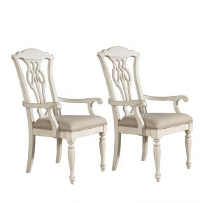 Liberty Furniture Industries, Inc. Abbey Road Splat Back Arm Chair - RTA - Set of 2 - White Front Pair View