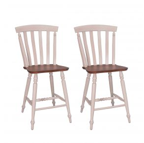 Liberty Furniture Industries, Inc. Al Fresco III Slat Back Counter Chair - Set of 2 - White Pair Front View