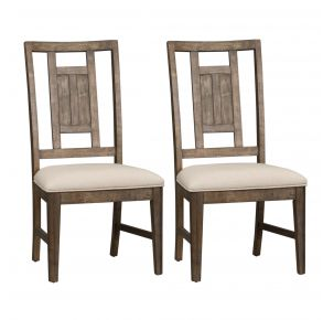 Liberty Furniture Industries, Inc. Artisan Prairie Lattice Back Side Chair - RTA - Set of 2 - Dark Brown Pair Front View