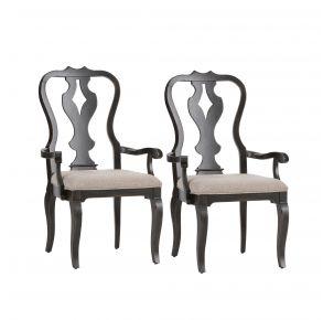 Liberty Furniture Industries, Inc. Chesapeake Splat Back Arm Chair - RTA - Set of 2 - Black Pair Front View