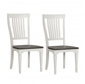 Liberty Furniture Industries, Inc. Allyson Park Slat Back Side Chair - RTA - Set of 2 - White Pair Front View