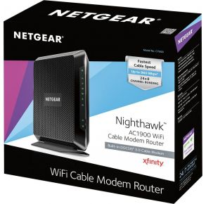 Netgear AC1900 WiFi Cable Modem Router - Black Front View